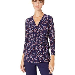 Anne Klein Eclipse/Cape Cod Faux Wrap Top NWT